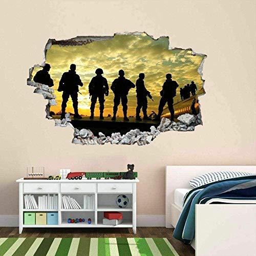 Soldados Ejército Militar Guerra Etiqueta de la pared Mural Calcomanía Niños Niños Dormitorio Decoración 50x70 cm