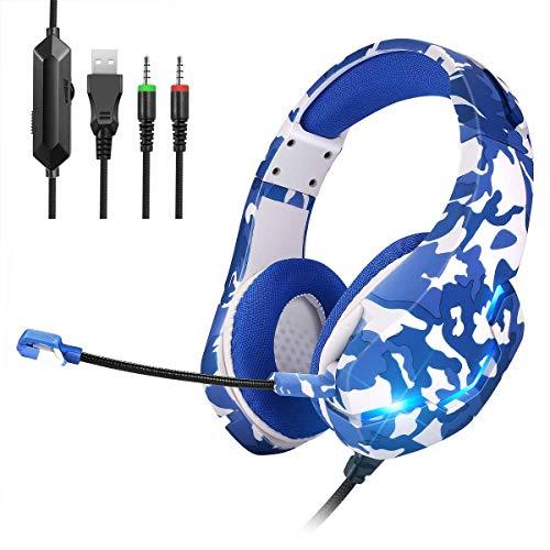 ONIKUMA Camuflaje Auriculares Gaming PS4, Xbox One Gaming Auriculares con Sonido Envolvente 7.1, con Micrófono con Cancelación de Ruido y luz LED para PS4/Xbox One/PC/Tablet/Smartphone