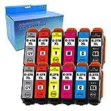 Uguan® - Cartuchos de Tinta compatibles con Epson Expression Photo HD XP-15000 (12 Unidades), Color Negro, Cian, Magenta y Amarillo, Rojo y Gris