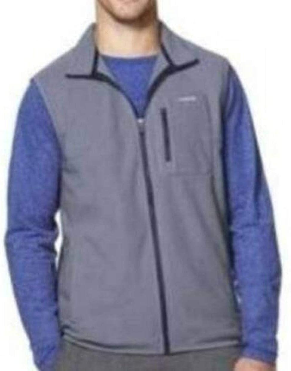 Chaps Mens Sport Blue Gray Full Zip 1 Pocket Sleeveless Fleece Vest