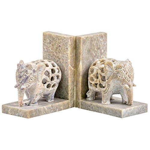 Myakka Buchstützen aus Speckstein, aufwändig handgeschnitzt, Elefant