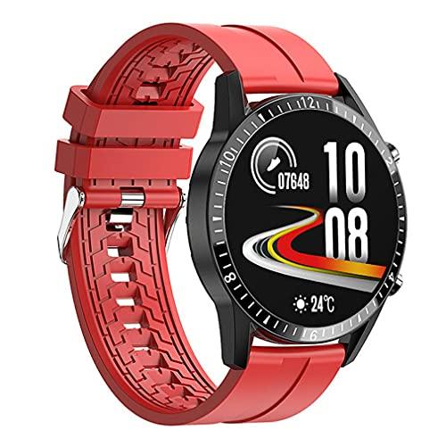Smartwatch, Pantalla Táctil 1.3' Multifunción Reloj Inteligente Hombres, IP67 Impermeable Sport Fitness Smart watch Podómetro,Ritmo Cardíaco,Sueño, para Android iOS correa roja + esfera negra
