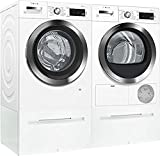 Bosch White Front Load Compact Laundry Pair with WAW285H2UC 24' Washer, WTG865H2UC 24' Condensation Electric Dryer and 2 WMZ20490 Laundery Pedestal