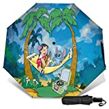 Paraguas Compacto Anti-Ultravioleta De Viaje Plegable Manual De Apertura/Cierre, Sombrilla Plegable Ligera para Exteriores A Prueba De Viento, Lilo Stitch Palm Hamaca Sandy