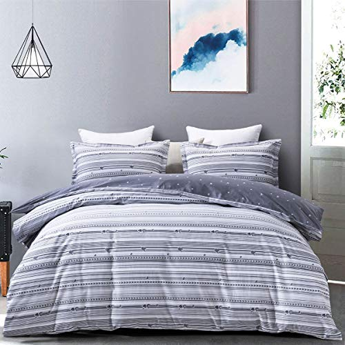 "JOHNPEY Duvet Cover Queen - 100% Cotton Bedding Set (1 Duvet Cover 90""x 90""+ 2 Pillow Shams 20"" x 26"")- Zipper Closure"