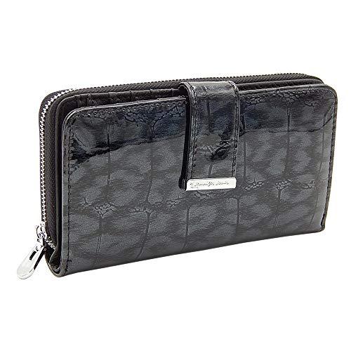 Elegante stilvolle Damen Geldbörse Portemonnaie aus hochwertigem Echtleder im Querformat (Schwarz-Kroko)