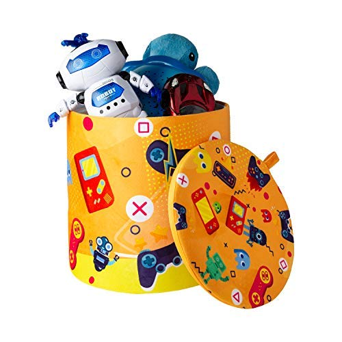 Kids Toy Storage Stool – Fun & Convenient Organization Stool for Modern Parents and Playful Children – Toys, Books or Blankets Organizer for Playroom, Living-Room & More - Robots - 10.23' x 10.78'
