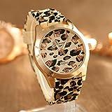 IEason,Unisex Geneva Leopard Silicone Jelly Gel Quartz Analog Wrist Watch Gold (Gold)
