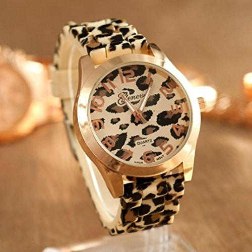 IEason,Unisex Geneva Leopard Silicone Jelly Gel Quartz Analog Wrist Watch Gold (Gold)