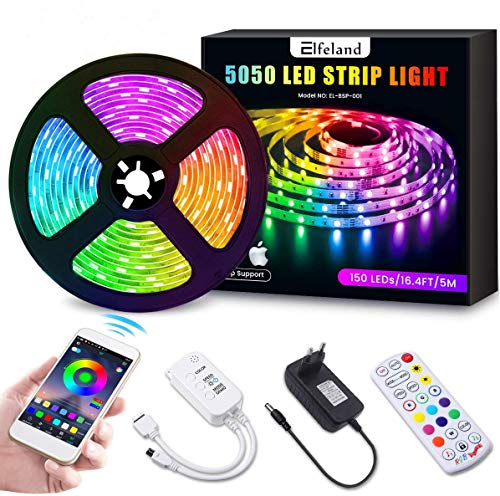 Elfeland LED Streifen 5M LED Strip RGB 5050SMD 150 Led Bänder, LED Stripes steuerbar via App bluetooth, LED Band Sync mit Musik, Lichtband Hintergrundbeleuchtung Full Kit mit Fernbedienung Beleuchtung