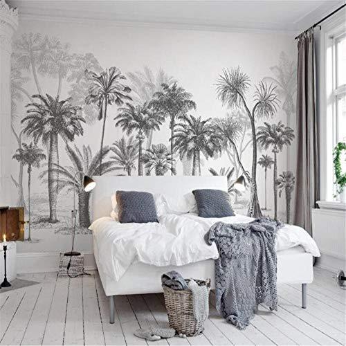 Fotobehang, muurstickers, personaliseerbaar, 3D-tekenstijl in wit en zwart, tropische jungle, kokosboom tv-achtergrond voor wand 3 D About 350*245cm 3 stripes
