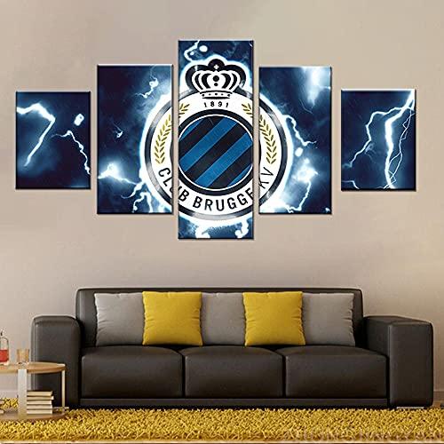 Posters Prints 5 Panelen België Club Brugge KV Club Canvas Gedrukt Modulaire Muurschilderingen Moderne Home Muurkunst Kunstwerk-Size_C_With_frame