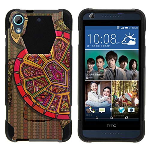 Compatible with HTC Desire 626 Case | Desire 626s | Desire 650 [Dynamic Shell] Hybrid Dual Layer Case Silicone Hard Shell Kickstand Cover Ocean Sea by TurtleArmor - Tribal Turtle Shell