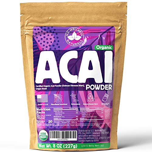 ACAI Powder 8oz | CERTIFIED Organic (Freeze-Dried Brazil Acai Powder) | 100% Raw Antioxidant Booster SUPERFOOD Acai Berry from Brazil | Blend for Shakes, Baking, Mixing Drinks - 76 Servings