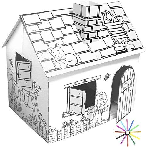 Funtress, casetta di cartone per bambini da colorare con pennarelli, per interni ed esterni, fai da te, idea regalo per bambini, 30 x 18 x 32 cm