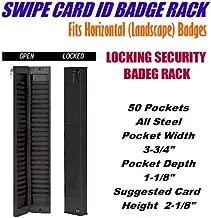 Sentinel Model CUSTOM50 Locking Swipe Card ID Badge Rack, 50 Pocket- Black