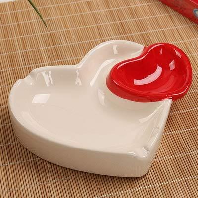 Wagrass Cenicero de cerámica con forma de corazón doble, multifunción, accesorios prácticos para cigarrillos, decoración del hogar, juego de fumar cangrejos (color: C)