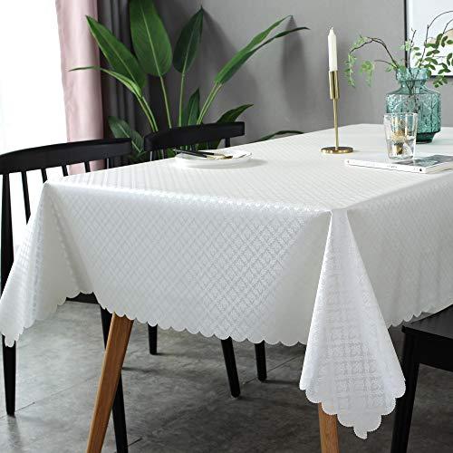 GBFR Mantel de plástico, mantel rectangular de fácil limpieza, impermeable, al aire libre, fiesta única, lavable, impresión blanca, 135 x 250 (53.1 x 98.4 pulgadas)