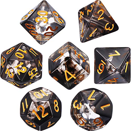 EBOOT Polyhedral 7-Die Dice Set for Dungeons and Dragons with Black Pouch (Transparent Black)