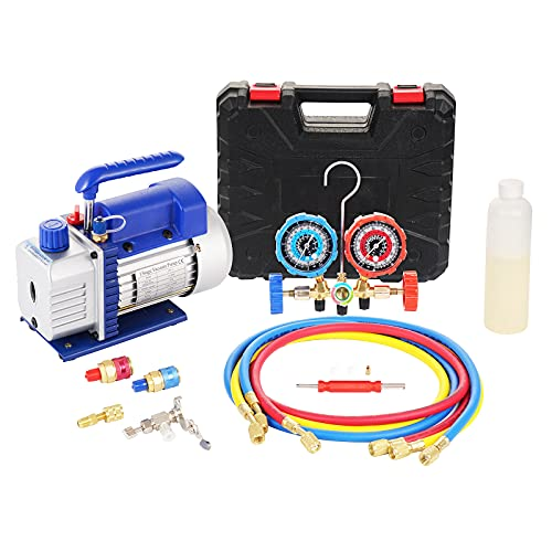 3CFM 1/4HP Single Stage Vacuum Pump and 3-Way Manifold Gauge Set for R12, R22, R134A, R502 Refrigerants with with Brass Valve Body for HVAC A/C Refrigeration Recharging and Maintenance