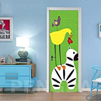 3Dドアアート漫画の動物のシマウマ 77x200cm防水アートステッカー取り外し可能な自己接着ビニールウォールステッカーホームベッドルームキッチン装飾デカールポスター取り外し可能な壁紙