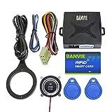 BANVIE Car RFID Alarm System Push to Engine Start Stop Button for Security Anti-Thief (Blue RFID Key)