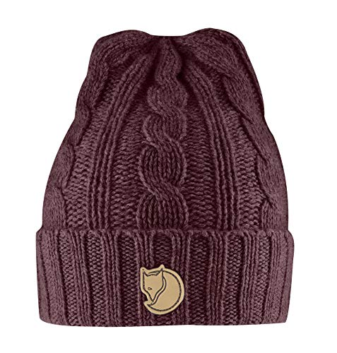 FJÄLLRÄVEN Braided Knit Hat, Dark Garnet, One Size