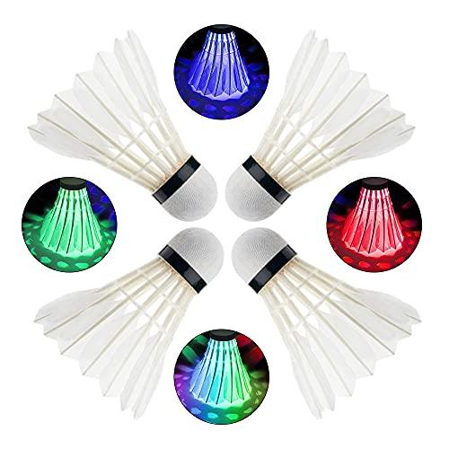 YeenGreen Badminton Led Ball, 4 Stücke Badminton Leuchtend, Gänsefeder Badminton Led, Badminton Federbälle Leuchtend mit Rot Grün Blau und Bunt für Nacht Outdoor und Indoor Sportaktivitäten