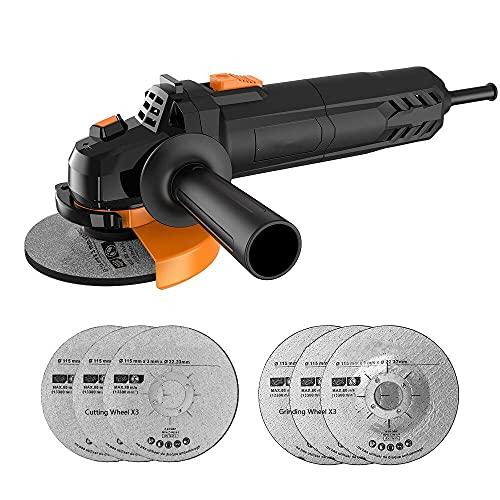 Amoladora Angular, Multi-function Amoladora 750W de 115 mm y 12000 RPM con 6 Ruedas Esmerilar/Pulir/Cortar, 1 Cubiertas Protectoras de Ruedas y 1 Mango Auxiliar, Para Trabajos de Rectificado