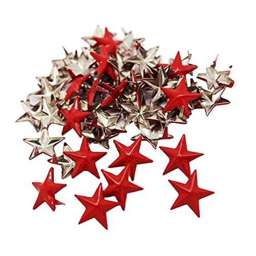 Duradero 500 Piezas DIY Red Star Remache Studs Aleación Botones Decorativos Prendas DIY Crafts para la reparación de artesanías (Color : Red)