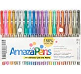 AmazaPens Gel Pens for Adult Coloring Books - Metallic Colors, 150% More Ink for Arts, Crafts & Writing Best Value Professional Quality Colored Pens for Adults and Kids
