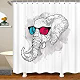 Aniaml - Cortinas de ducha de tela bohemia para niños y niñas, sabana africana, aníaml, accesorios impermeables con ganchos, cortinas blancas de teñido anudado, 72 x 84 pulgadas