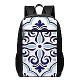School Backpack Azulejo, College Book Bag Business Travel Daypack Casual Rucksack for Men Women Teenagers Girl Boy