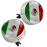 Clip de ventilación con diseño de bandera de México o mexicano, 2 piezas para aromaterapia de coche