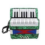 LanLan 17 Mini-Musikinstrument, Lerninstrument, für Akkordeon, professionell, Hauptsächlich für beide Kinder und Erwachsene grün