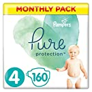Pampers Pure Protection Size 4, 160 Nappies, 9-14 kg, Monthly Saving Pack, Made with Materials Containing Premium Cotton and Plant-Based Fibres