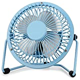 4 Inch Small USB Desk Fan, Mini Quiet Fan with Metal Construction & Strong Airflow & 360°Adjustable Tilt Angle, Personal Cooling Fan for Desktop Office (Blue)