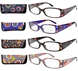 Eyekepper Geometric Temples Spring Hinge Plastic Reading Glasses (4 Pack Mix) Women +2.5