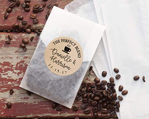 Coffee Wedding Favor Bags, Coated Grease Resistant Bags, Personalized Kraft Paper Stickers, Party Favor, Bridal Shower, The Perfect Blend - Set of 20