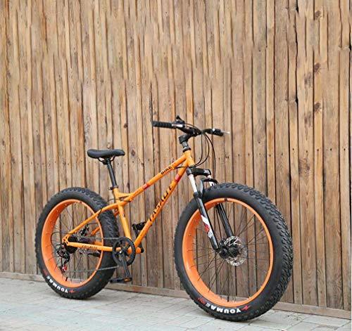 AISHFP Fat Tire Herren Mountainbike, Doppelscheibenbremse/Cruiser Bikes, Strand Snowmobile Fahrrad, 26-Zoll-Aluminium-Felgen,Orange,24 Speed