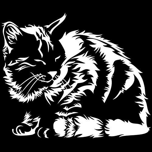 Pegatinas Divertidas Durmiente Gato Animal Divertido Carro Pegatina de Coche clásico decoración de la Ventana del Coche PVC Impermeable Impermeable calcomanía 15 x 13 cm