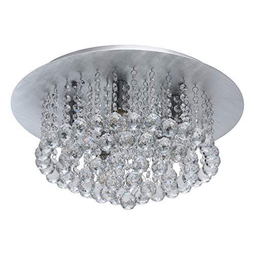 MW-Light 276014605 Jugendstil Deckenleuchte Modern Klares Kristall Rund Metall Aluminum Silberfarbig Chrom Fassung E14