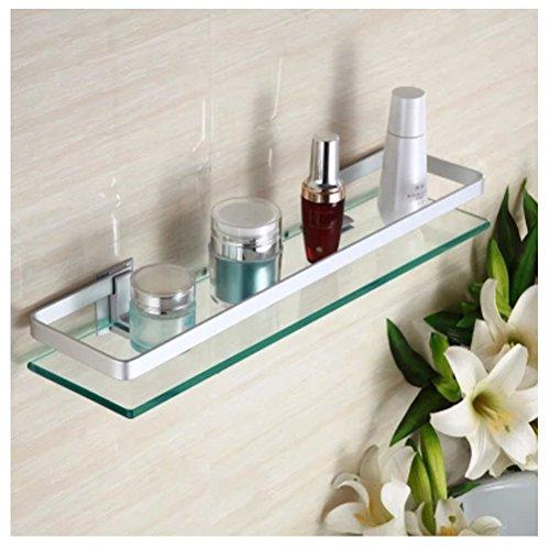 HBlife Aluminio Baño Cosméticos Almacenamiento Rack Rectangular Estante De Cristal Estante Rectangular Cristal Estantería De Pared De Almacenamiento De Baño