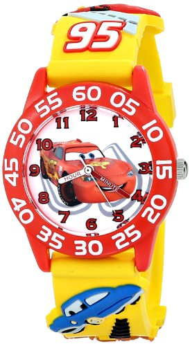 Disney Kids' W001509 'Time Teacher' 3D Cars Watch with Yellow Plastic Band