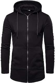 Men Long Pleated Hoodies Splicing Fold Pullover Long Sleeve Hooded Sweatshirt Tops Blouse Beautyfine