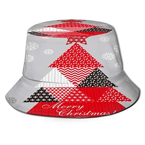 Angelhut Fischerhut,Weihnachtsbaum Patchwork Style Vektor-Illustration,Bonie Safari Sonnenhüte zum Wandern im Freien für Männer und Frauen