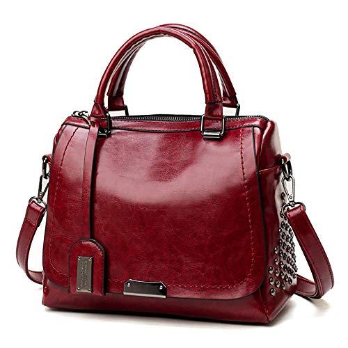 Retro handtas, Rivet oliehuid handtassen, PU modieuze tas, messenger bag vakantiereizen bedrijf, grote capaciteit schoudertas