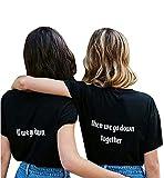 Minetom Best Friends Elegant T Shirt Damen mit Aufdruck If We Go Down Then We Go Down Together Cool Tops Kurzarm Bluse Schwarz Then DE 34