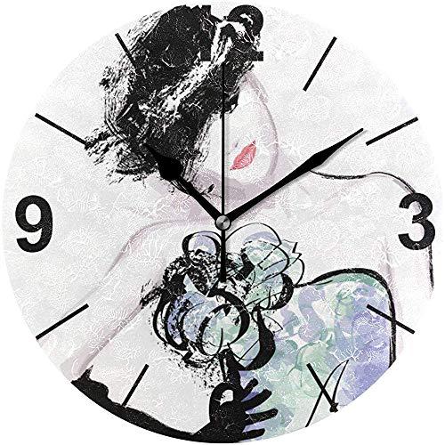 Tabue Wandklok stil 9,5 inch klok met batterijen, die niet worden getikt, voor jonge vrouwen in stille horloges van acryl rond zwart