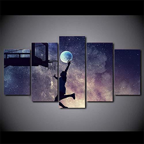 Póster de Arte de Pared Impresión HD 5 Piezas Jugador de Red de Baloncesto Cielo Estrellado Escena Nocturna Imágenes Decoración Habitación Lienzo Modular Pintura + Póster de Arte de Pared Impresi